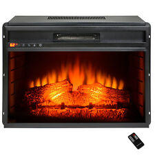 "34"" Black Insert Freestanding 22 Settings Logs Electric Fireplace Heater"