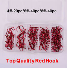 100pcs Box Fishing Hooks 4# 6# 8# Carbon Steel Treble Jig Hook Fishhook Tackle