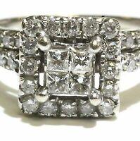 14k white gold Fn .60ct set diamond princess cut engagement wedding band ring