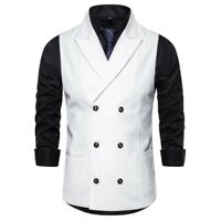 Men's Double Breasted Vest Formal Dress Waistcoat Slim Fit Business Sleeveless L