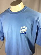 INTEL Inside Core 2 Quad Promo Graphic T Shirt Mens Size 2XL Light Blue Color