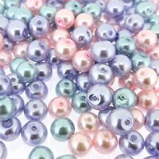 "Round Luster Glass Pearl Beads 8mm ""Princess Mix100pcs (gprd08m-prn)"
