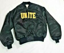 Unity - Save The Youth - Black Satin Varsity Jacket Gold Embroidered Letters XL