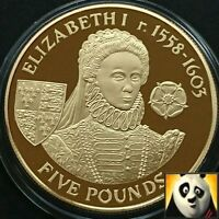 2007 ALDERNEY £5 Five Pound QUEEN ELIZABETH I Silver & Gold Plated Proof Coin