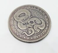 1921 Morgan Dollar Hobo Nickel Coin Snake Skull