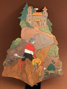 🎁 1940er Gestiefelter Kater GROSS 30cm Laubsägearbeit Holz Bild Figur Katze ALT