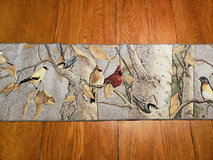 """Fall Tapestry Table Runner 70"""" x 13"""" Cardinals, Finches, Chickadees, Tassels"""