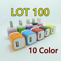 100x Color 1A USB Power Adapter AC Home Wall Charger US Plug For iPhone 5 5S 6