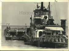 """1968 Press Photo The """"Barbara Andrie"""" tugboat with Amoco Oil's load of asphalt"""