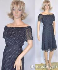 White House Black Market Sheer Chiffon B&W Polka-Dot Ruffle Off Shoulder Dress