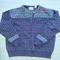 Vintage 80's Fair Isle Nordic Ski winter wool Sweater Women's Cropped L XL Navy