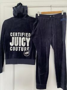 Genuine Juicy Couture Zip Up Tracksuit, Size Small, Dark Navy Blue Colour