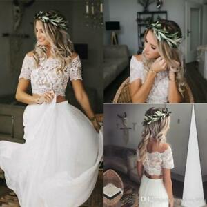 Summer Boho Two Piece Wedding Dress Applique Lace Chiffon Beach Bridal Gown Size