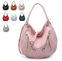 Ladies Faux Leather Front Zip Slouch Shoulder Bag Hobo Travel Handbag MX-003