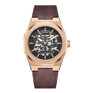 Mens Edison Roadster Automatic Watch Rose Gold Colour Hexagon Case Brown Leather