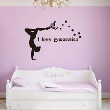 I Love Gymnastics Dancing Butterfly Wall Stickers Girls Bedroom Wall Decor Decal