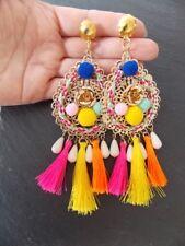 Over-Sized Multi-Coloured  Tassel Clip-On Statement Earrings -UK SELLER