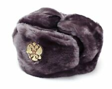 Authentic Russian Military Gray Ushanka Hat Imperial Eagle Size Xxl (63 cm)