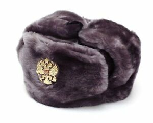 Authentic Russian Military Gray Ushanka Hat Imperial Eagle Size XLarge (62 cm)