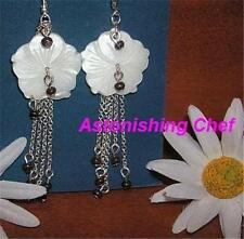 AVON ISLAND VIBE MOTHER OF PEARL FLOWER MEDALLION EARRINGS