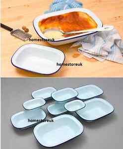 FALCON ENAMEL PIE DISH STEAK PUDDING ASHET BAKE BAKING OBLONG OVEN WHITE TIN NEW