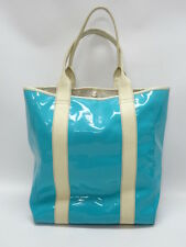 JONATHAN ADLER TURQUOISE PATENT LEATHER, IVORY TRIM LARGE TOTE BAG - GUC