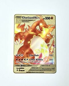 Charizard VMax 74/73 Champion's Path Gold Metal Pokemon Card Custom Red