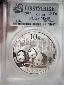 2013 China PCGS MS69 Firsts Trike Silver Panda # 0489