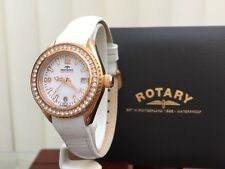 Rotary AQUASPEED Ladies Watch Rose gold White str.Swarovski Crystals RRP£210(R81
