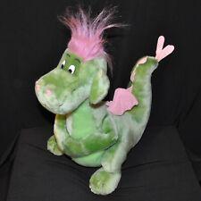 "Vintage Disney Petes Dragon Elliott Plush Stuffed Green Pink 15"" Tall Disneyland"