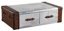 Canvas Steamer Antique Style Leather Trunk/Coffee Table DV-014