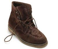 Lacci da Scarpe Stivaletti con Lacci Vintage Inverno Caldo Ricamo Braun 37,5 -38