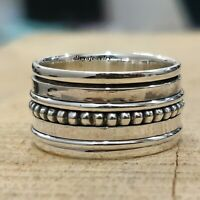 925 Sterling Silver Spinner Ring Wide Band Meditation Statement Jewelry tt907
