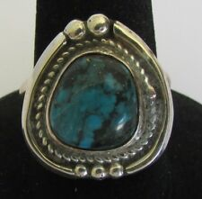 Ring Size 6.5 Juan Guerro Native American Navajo Sterling Silver Turquoise