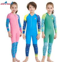 One Piece Kids Girls Boys Swimsuit Full Long Sleeve Swimwear Diving Bathing Suit