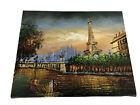 Original Artist Painting Eiffel Tower Paris Sunset Seine Foot Bridge 8x10 Signed