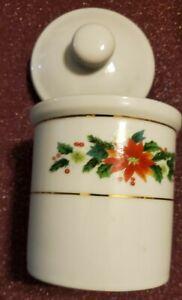 Poinsettia Crock ROYAL NORFOLK Covered Bowl Ceramic Jar w Lid Christmas trinket