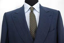 Ermenegildo Zegna Double Breasted Peak Lapel Suit Navy Pinstripe Wool Mohair 42L