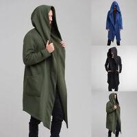 UK Men Gothic Long Cloak Cape Coat Cardigan Hoodie Open Front Plain Jacket F/1