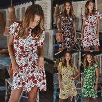 Ladies Women Sexy Short Sleeve Floral Mini Summer Beach Sundress Tea Dress