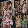 Boho Women Sexy Short Sleeve Floral Mini Summer Beach Sundress Tea Dress UK