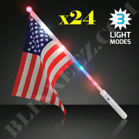 24X PATRIOTIC LED LIGHT UP USA FLAGS - 4TH OF JULY FLASHING FUN~