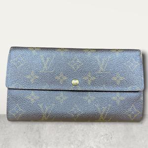 LV3050 LOUIS VUITTON Brown Monogram Canvas Leather Sarah Long Envelope Wallet