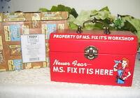 MS. FIX IT STORAGE BOX W/ CLOCK ENESCO 2003  NEVER USED