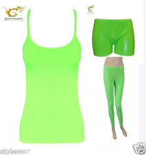 Ladies Girls Lycra Neon Hot Pant Shorts Vest Top Legging Dance Wear Fancy Dress