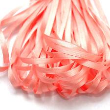 Un mètre de doux ruban de soie, rose corail couleur, 4 mm large