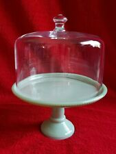 """Pioneer Woman Timeless Beauty 8"""" Cake Stand w/ Cover - Jadeite - New - Retired"""