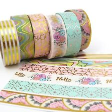 Washi Tape Set Pink Gold Foil Hello Florals Water Colour Stripes Scallops 6x10m