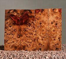 4 x scales poplar stabilized wood blank grip burl 133 x 40 x 7-9 mm.