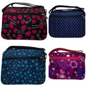 Ladies Shoulder Bag Cross Body Messenger Multi Pocket Nylon Travel Purse Bags